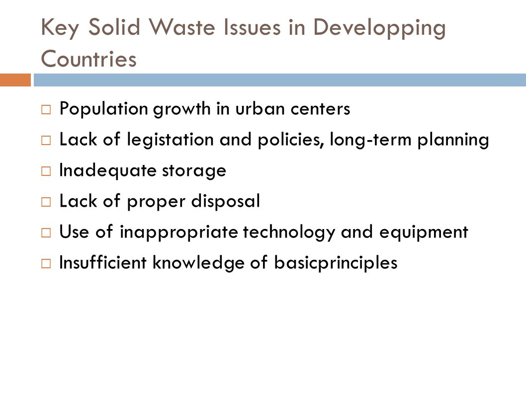 Key Solid Waste Issues in Developping Countries