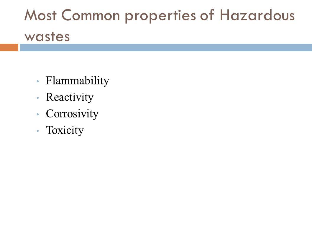 Most Common properties of Hazardous wastes