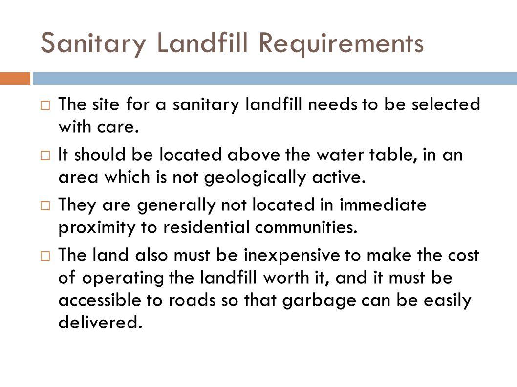 Sanitary Landfill Requirements