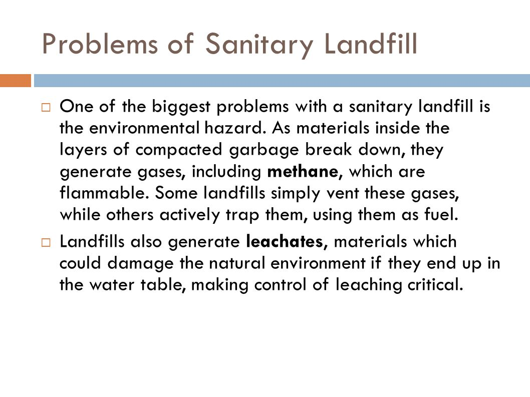 Problems of Sanitary Landfill