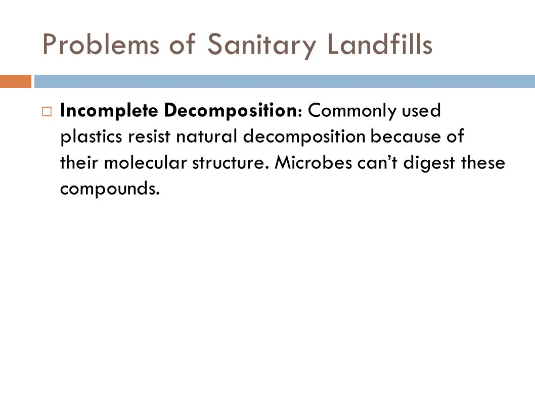 Problems of Sanitary Landfills