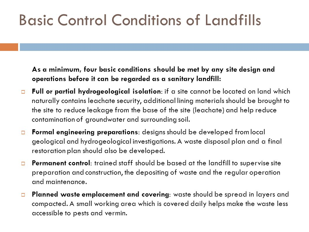 Basic Control Conditions of Landfills