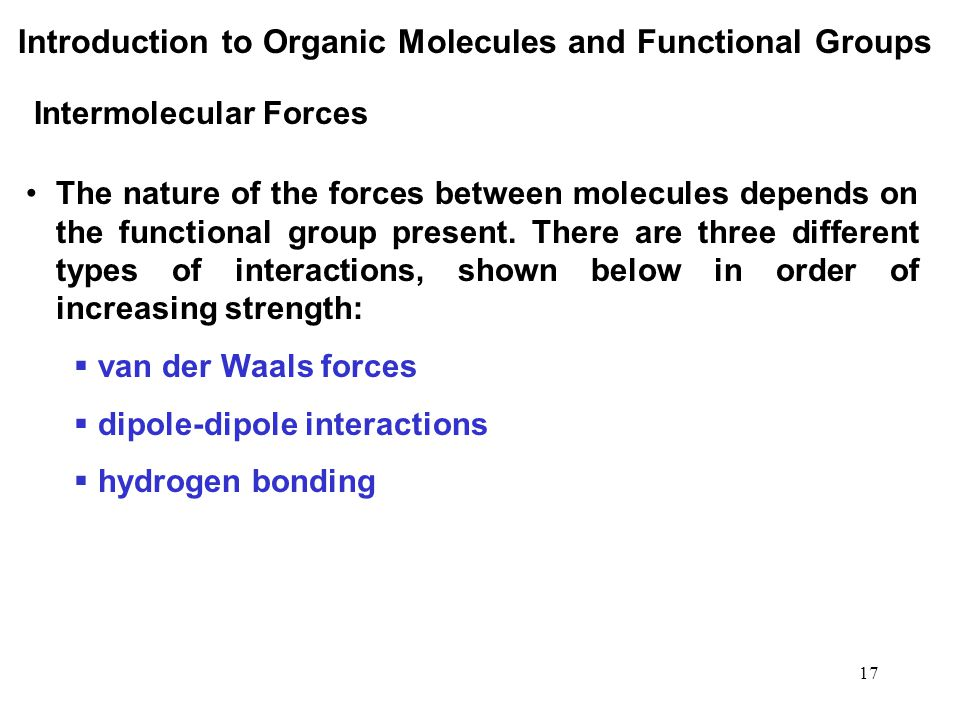 Introduction to Organic Molecules and Functional Groups