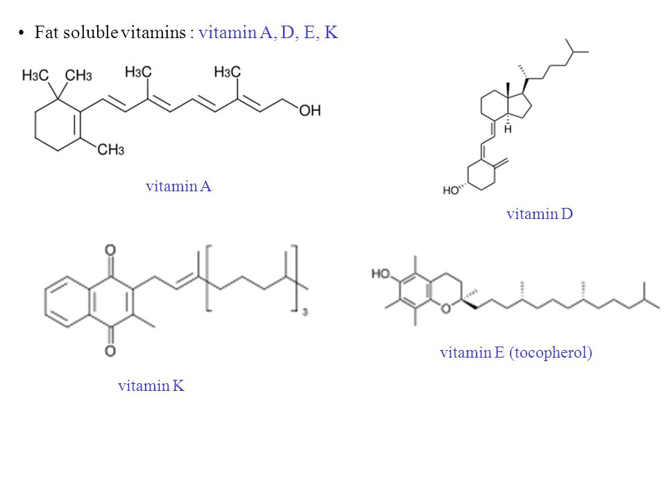 Fat soluble vitamins : vitamin A, D, E, K