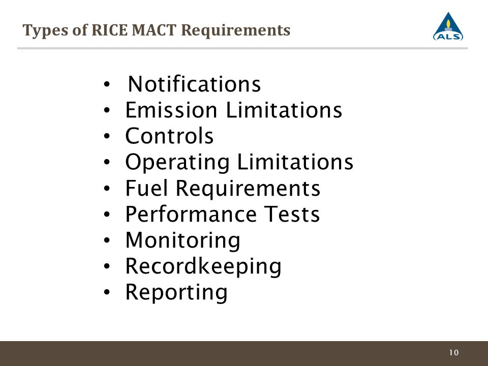 Types of RICE MACT Requirements