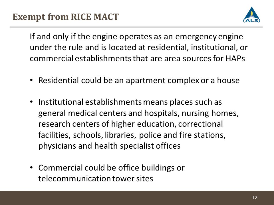 Exempt from RICE MACT
