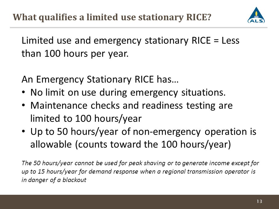What qualifies a limited use stationary RICE