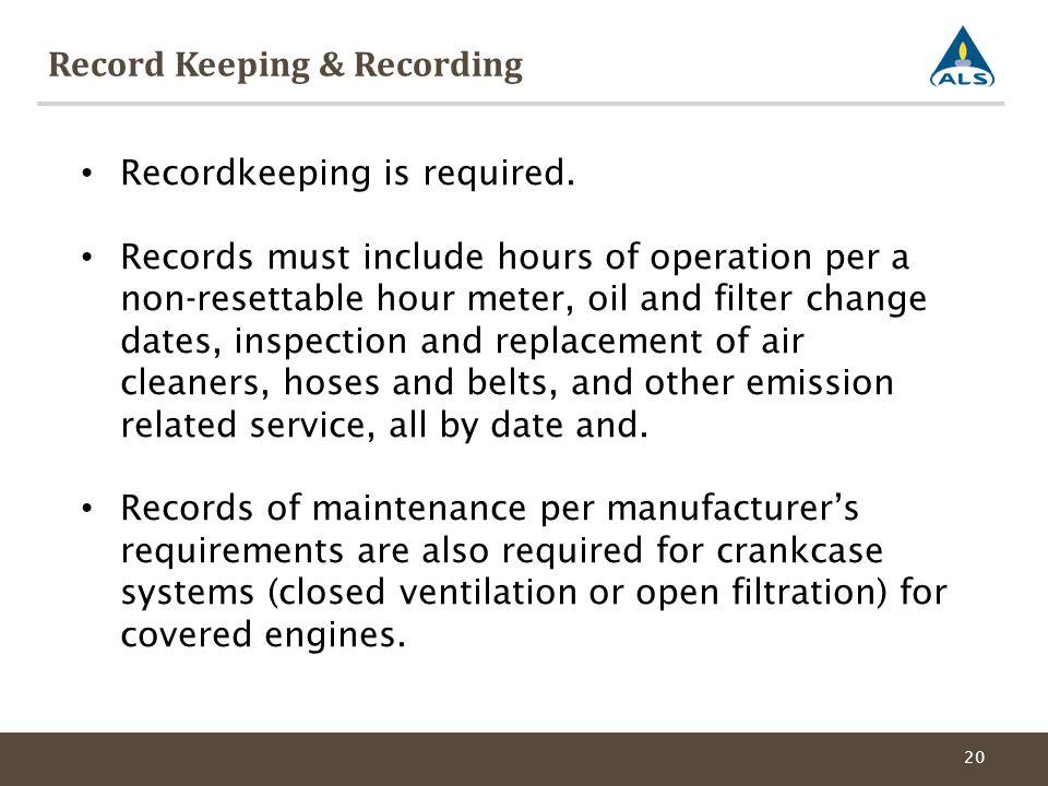 Record Keeping & Recording