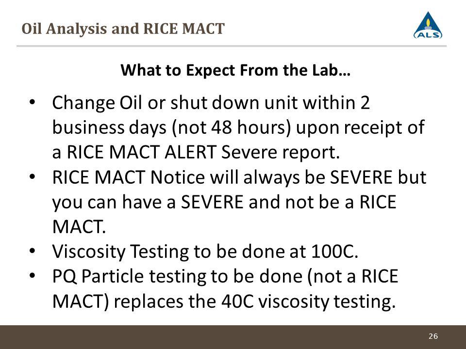 Oil Analysis and RICE MACT