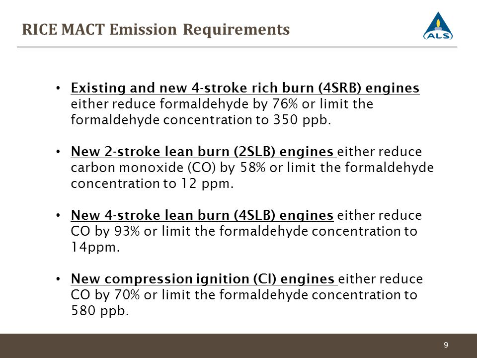 RICE MACT Emission Requirements