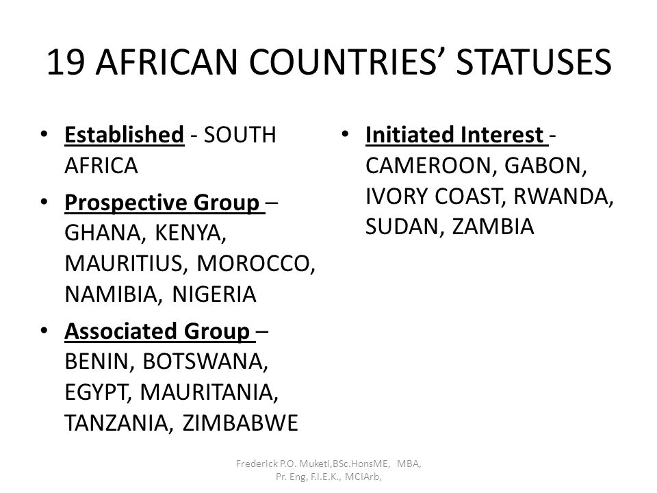 19 AFRICAN COUNTRIES' STATUSES