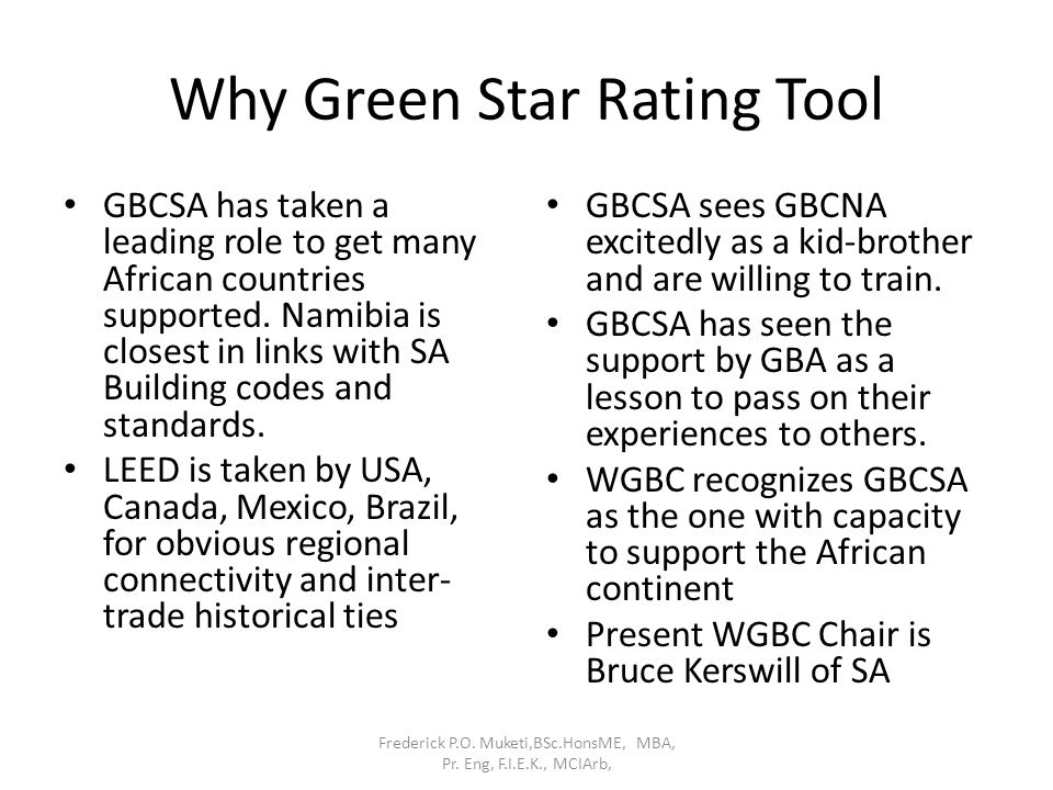 Why Green Star Rating Tool