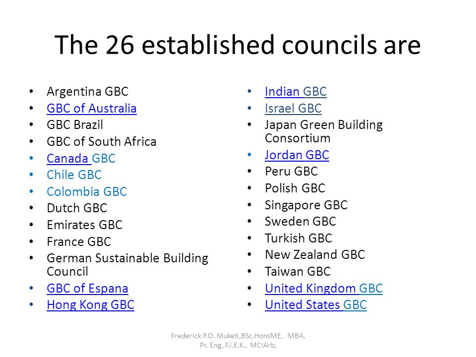 The 26 established councils are