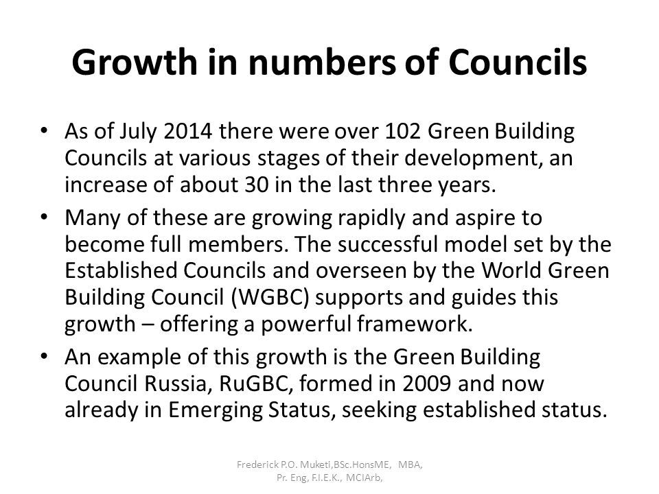 Growth in numbers of Councils