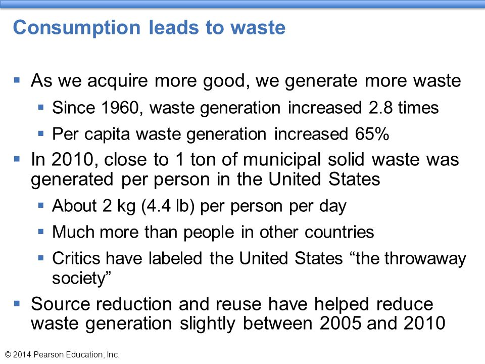 Consumption leads to waste