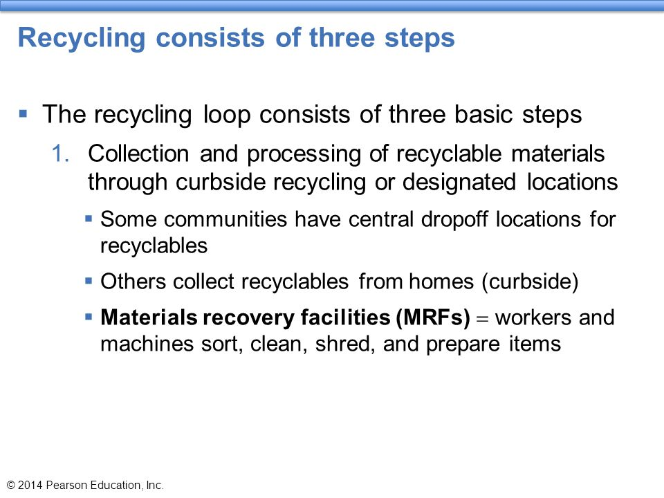 Recycling consists of three steps