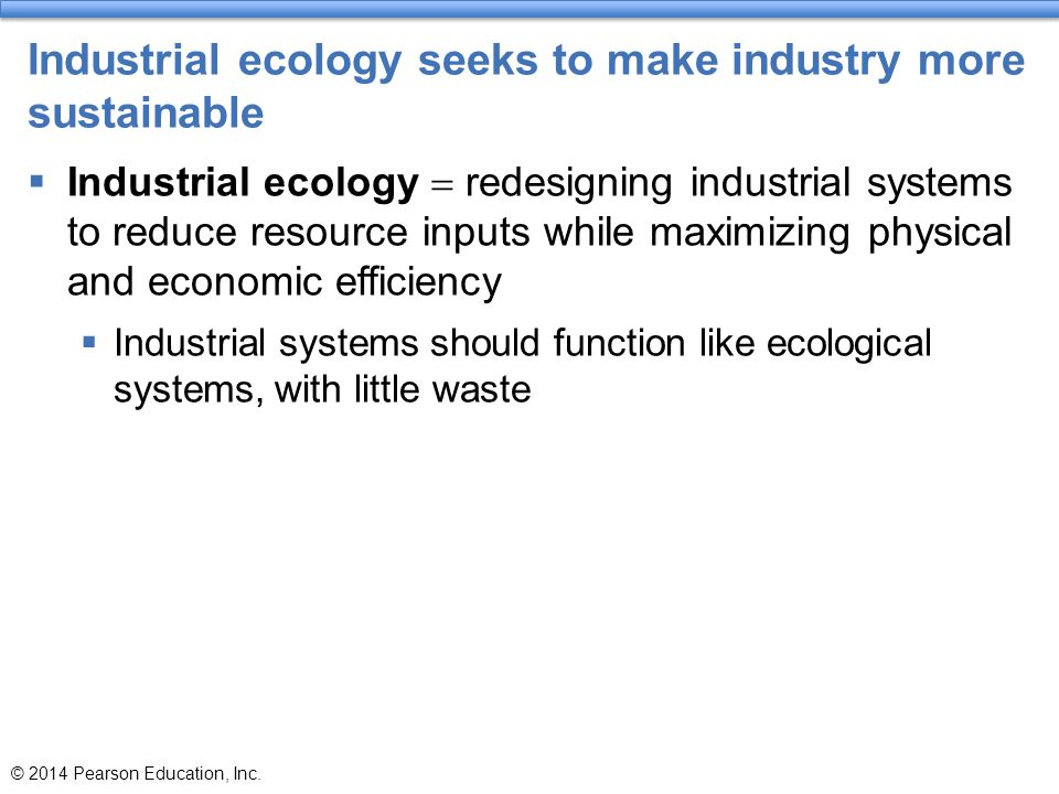 Industrial ecology seeks to make industry more sustainable