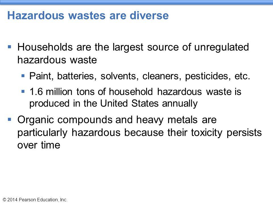 Hazardous wastes are diverse