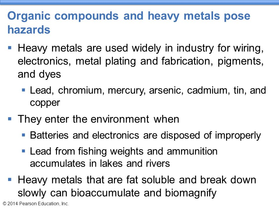 Organic compounds and heavy metals pose hazards