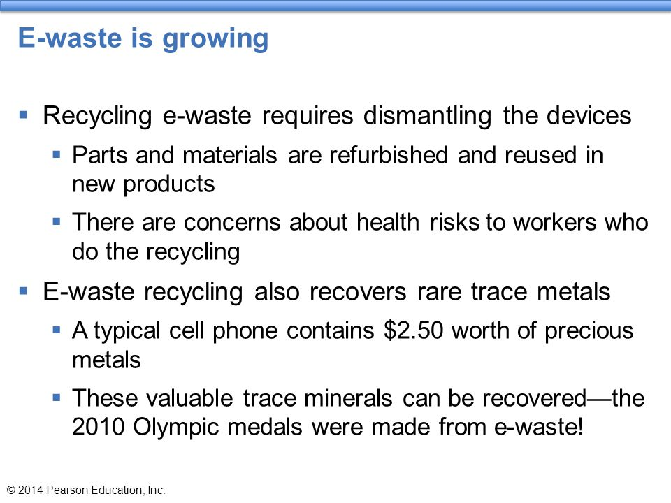 E-waste is growing Recycling e-waste requires dismantling the devices