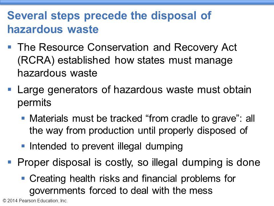 Several steps precede the disposal of hazardous waste
