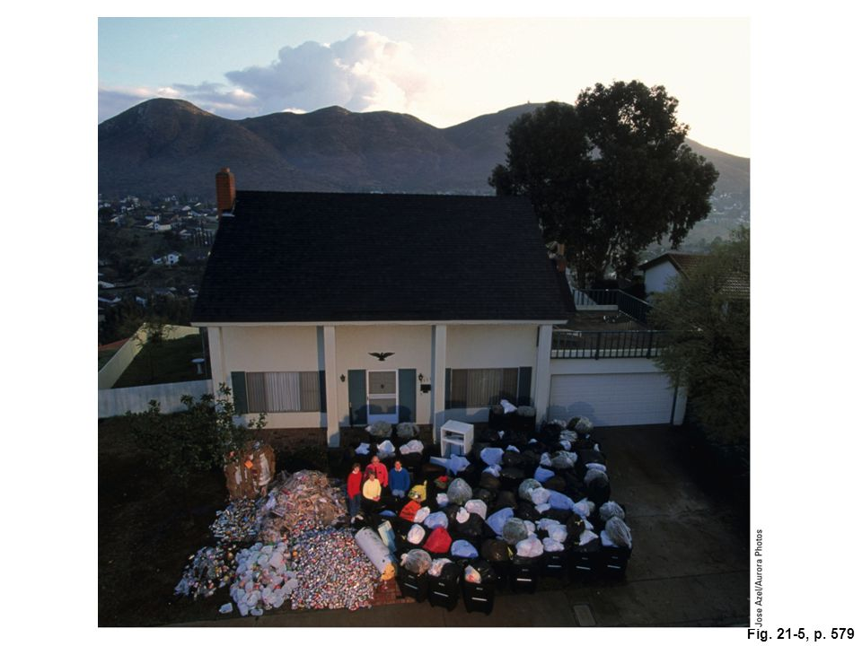 Figure 21-5: A year's worth of solid waste produced by family of four in San Diego, California. Recyclable items are on the left and the rest of their MSW is on the right.