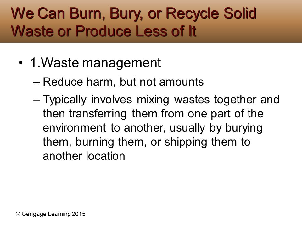 We Can Burn, Bury, or Recycle Solid Waste or Produce Less of It