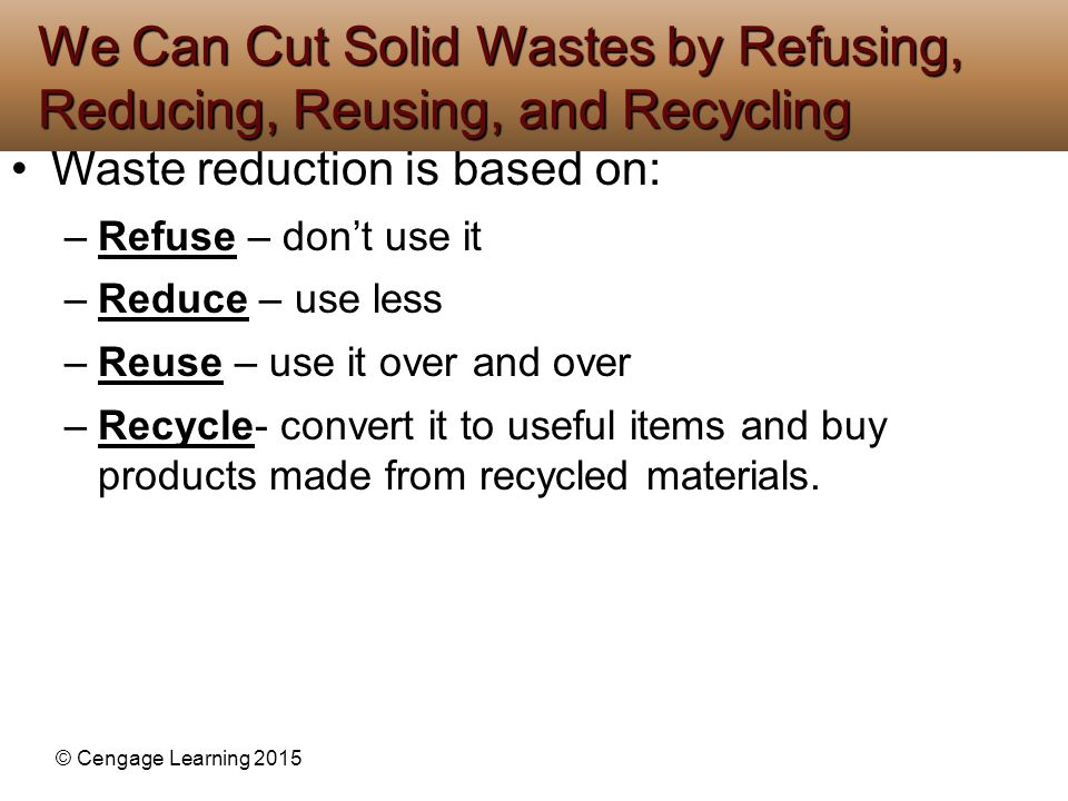 We Can Cut Solid Wastes by Refusing, Reducing, Reusing, and Recycling