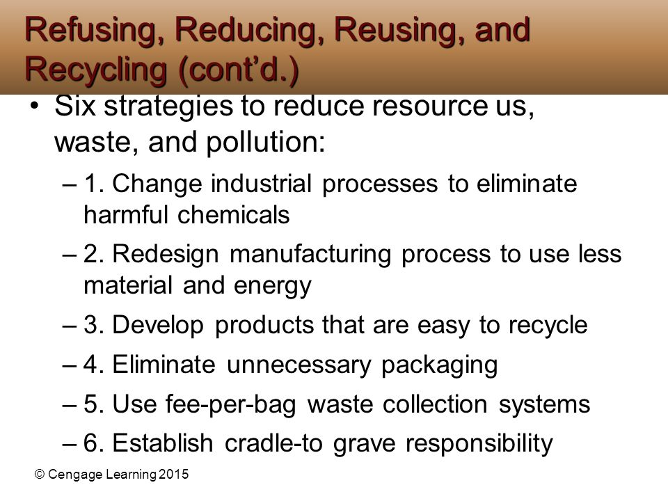 Refusing, Reducing, Reusing, and Recycling (cont'd.)