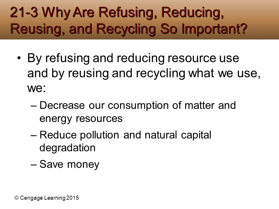 21-3 Why Are Refusing, Reducing, Reusing, and Recycling So Important