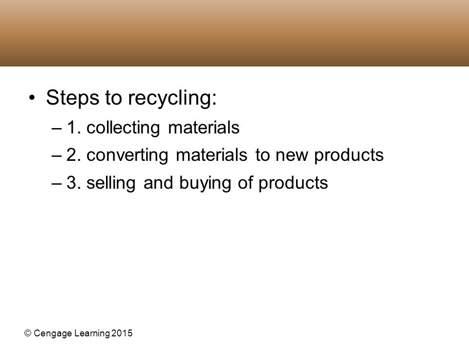 Steps to recycling: 1. collecting materials