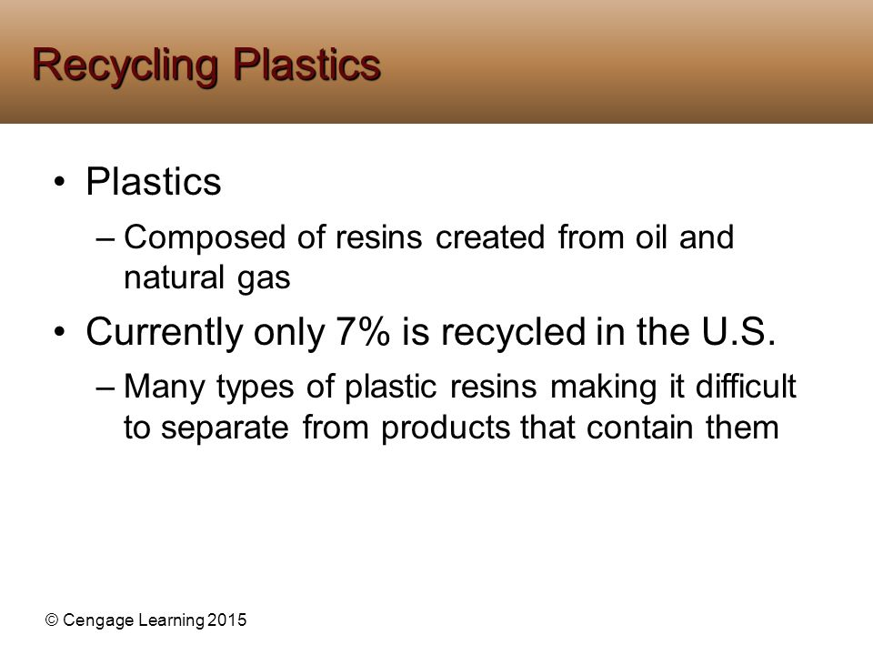 Recycling Plastics Plastics Currently only 7% is recycled in the U.S.