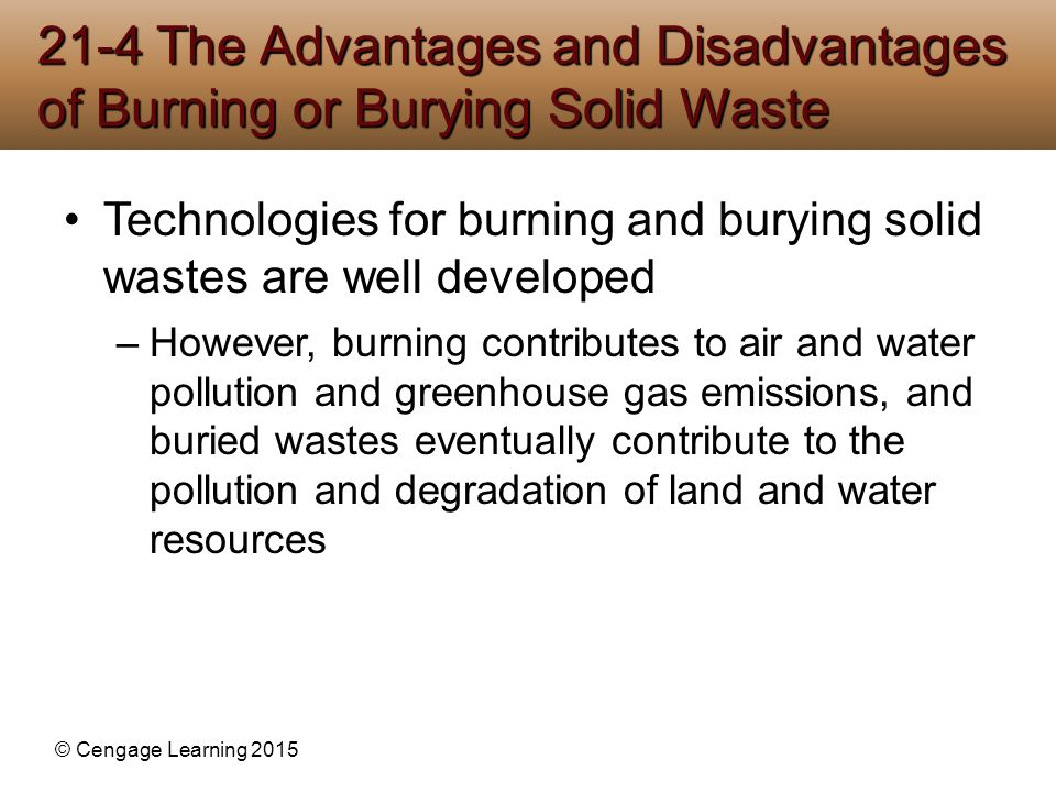 disadvantages of land pollution So, it too causes a considerable extent of water pollution and land pollution thus, considering the pros and cons of waste management, we can only realize that the ultimate goal of waste management relies in waste minimization and curbing only.