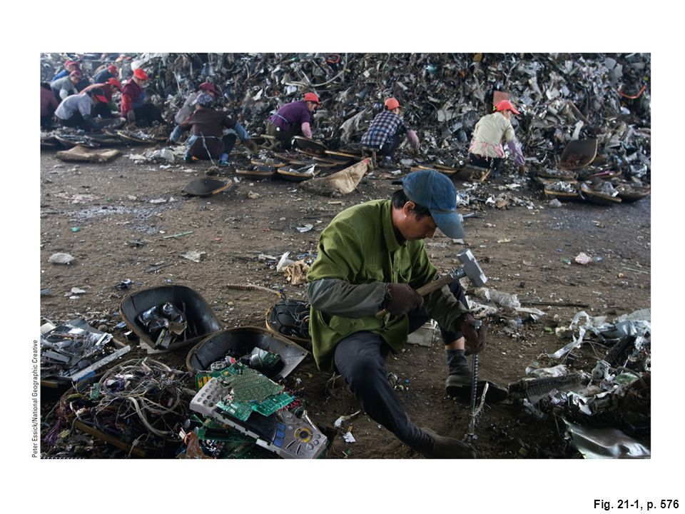 Figure 21-1: These workers in Taizhou City in China's Zhejiang Province are recovering valuable materials from scrap computers shipped from the United States. Question: Have you disposed of an electronic device lately If so, how did you dispose of it