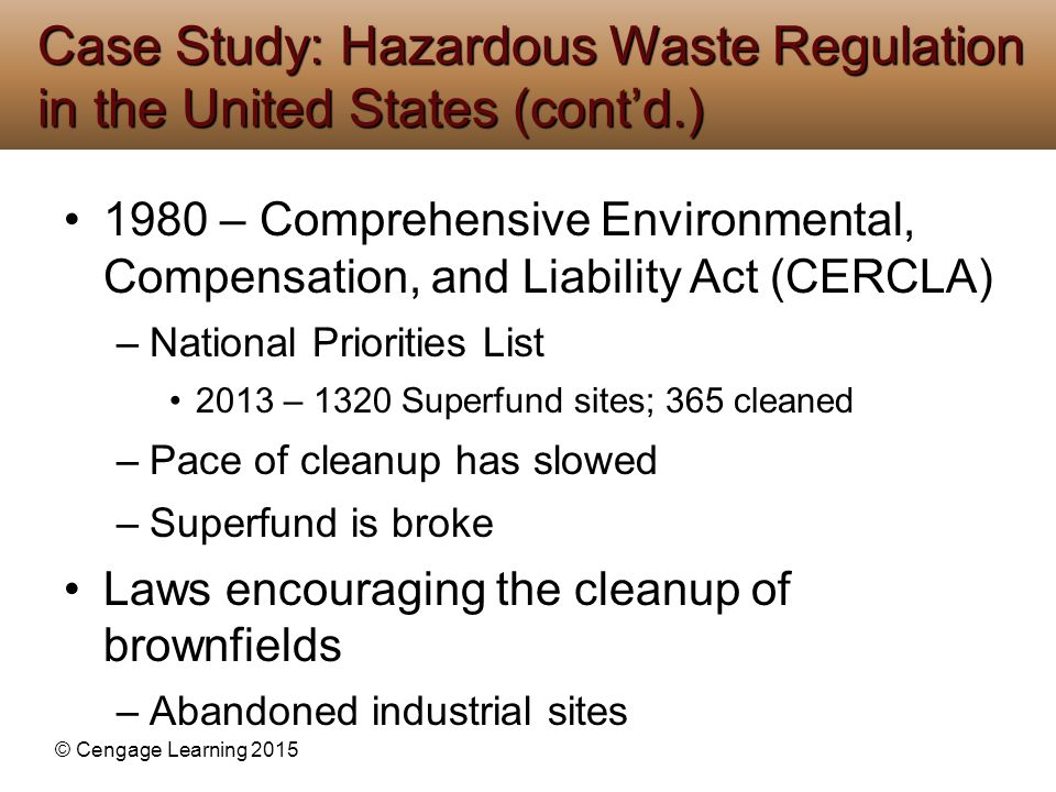 Case Study: Hazardous Waste Regulation in the United States (cont'd.)