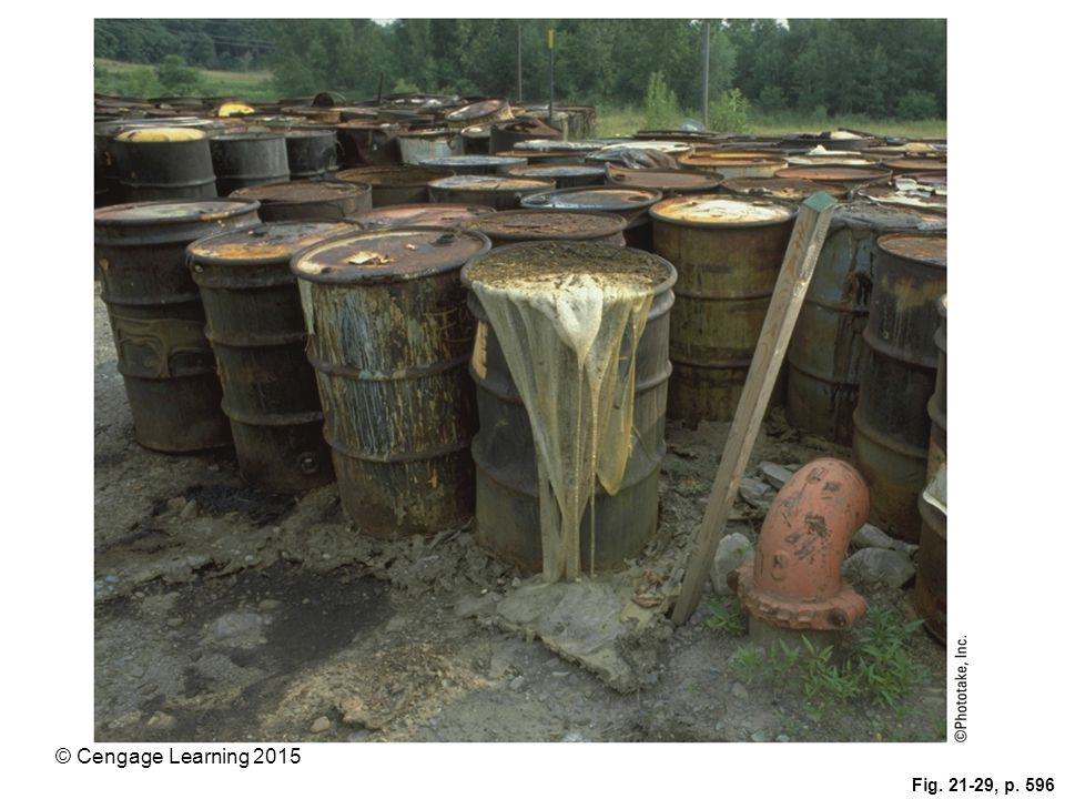 Figure 21-29: Leaking barrels of toxic waste found at a Superfund site that has since been cleaned up.
