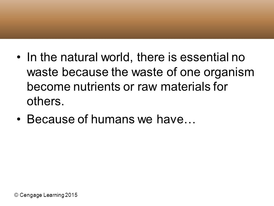 In the natural world, there is essential no waste because the waste of one organism become nutrients or raw materials for others.