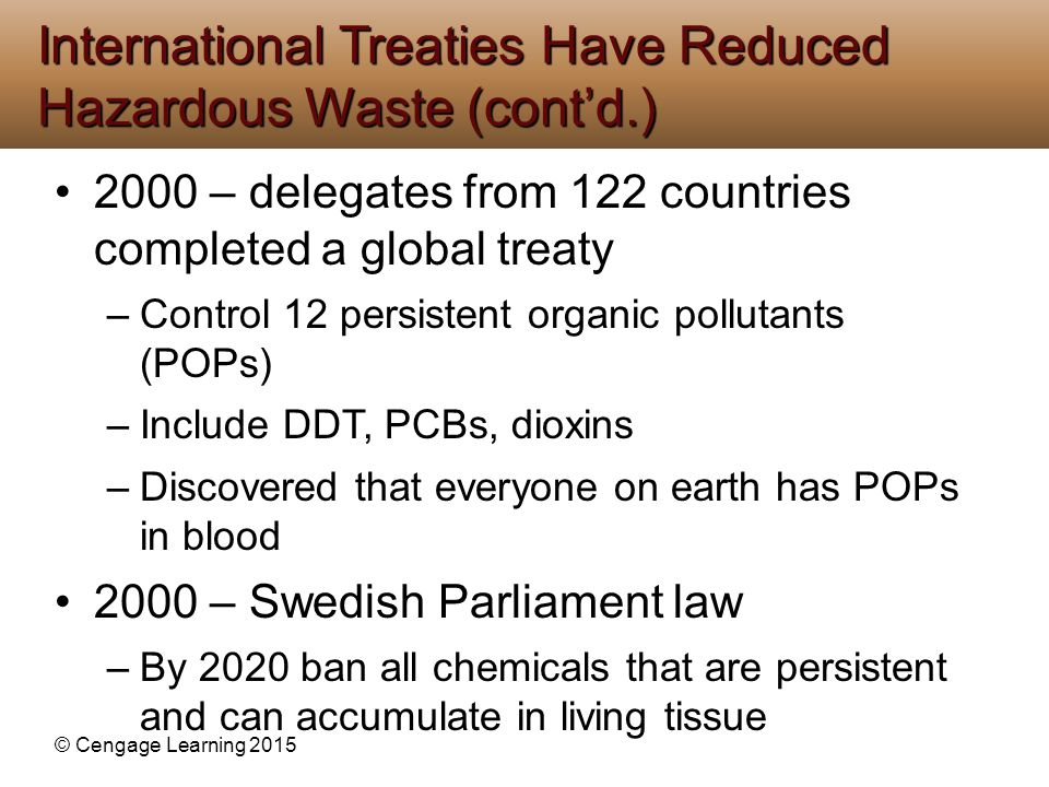 International Treaties Have Reduced Hazardous Waste (cont'd.)