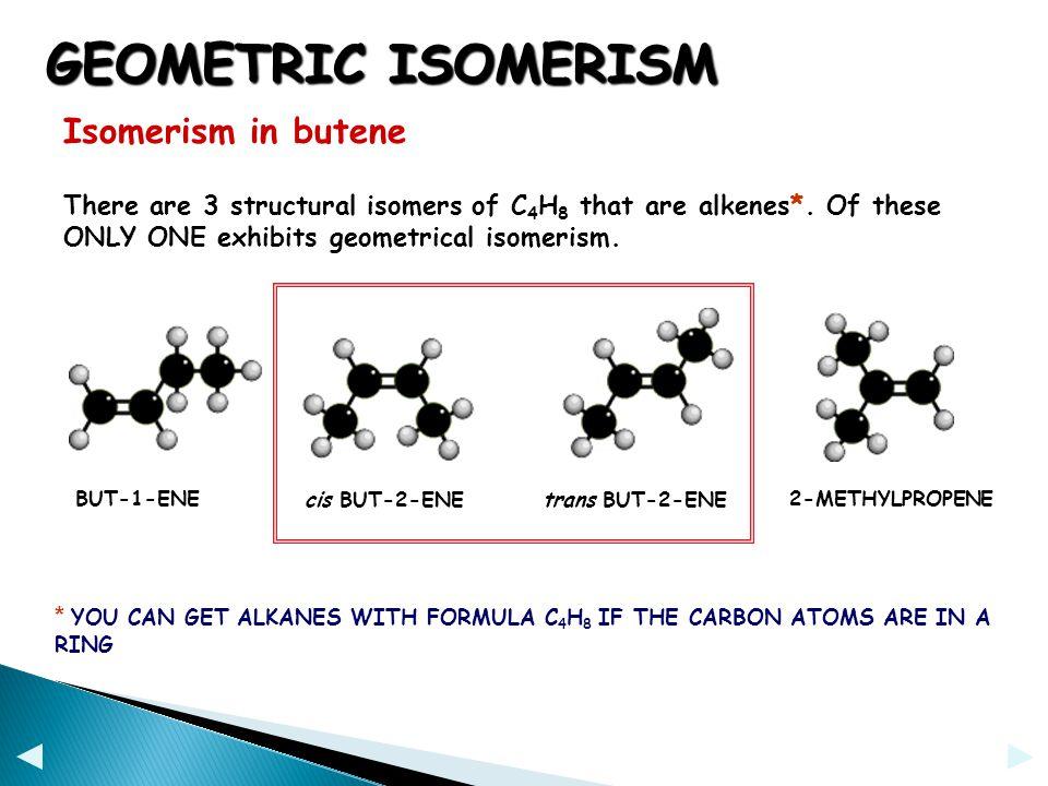 GEOMETRIC ISOMERISM Isomerism in butene