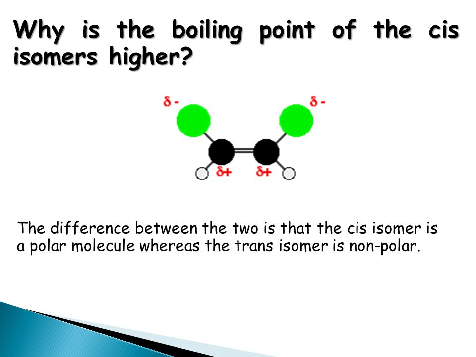 Why is the boiling point of the cis isomers higher