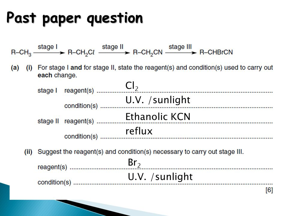 Past paper question Cl2 U.V. /sunlight Ethanolic KCN reflux Br2