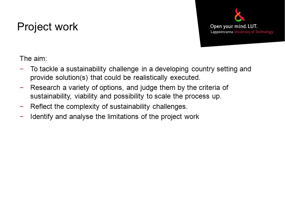 Project work The aim: