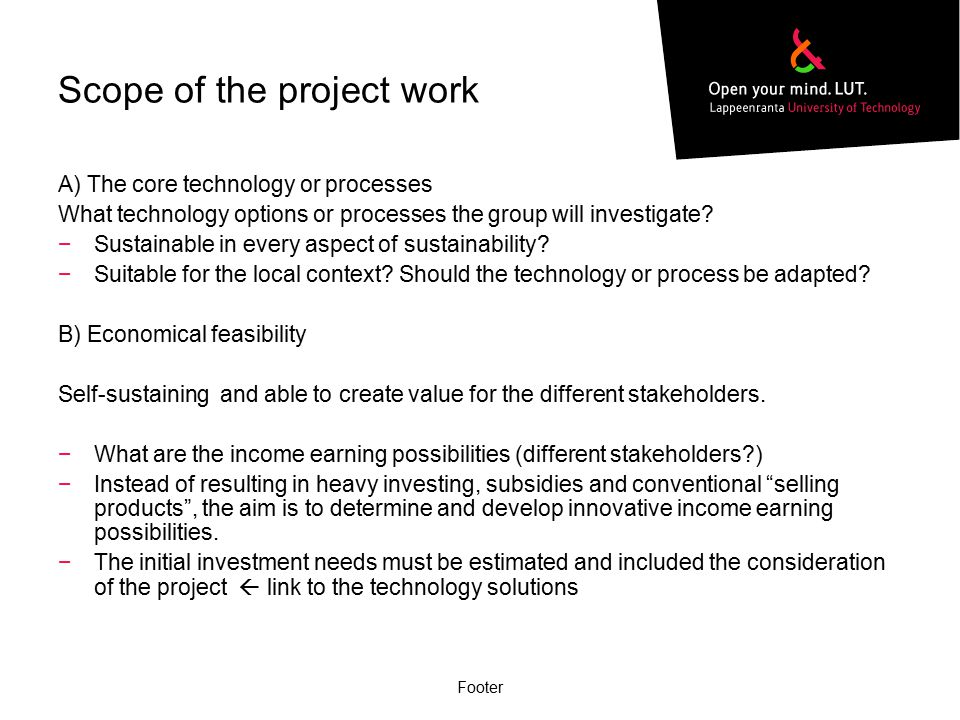 Scope of the project work