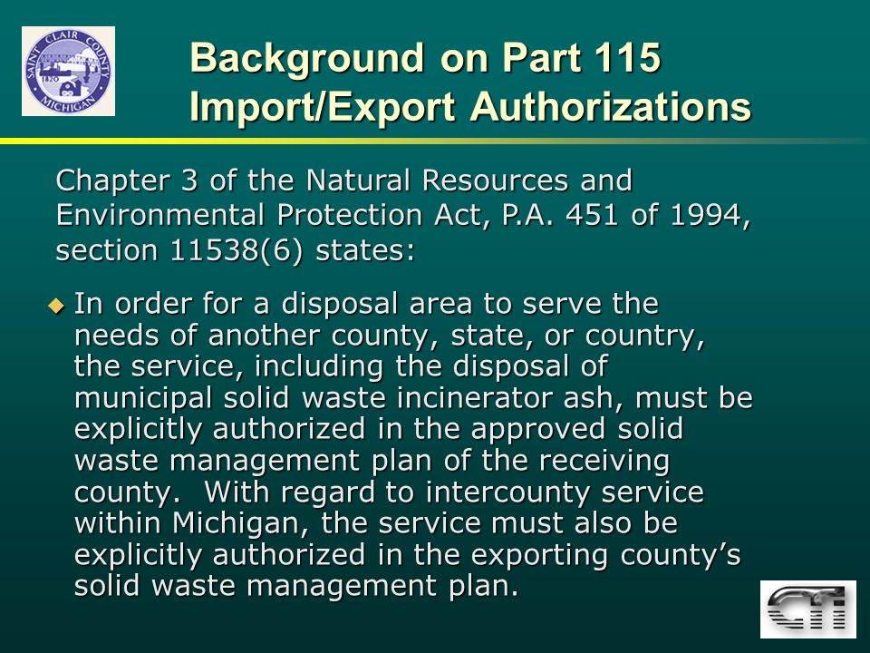 Background on Part 115 Import/Export Authorizations