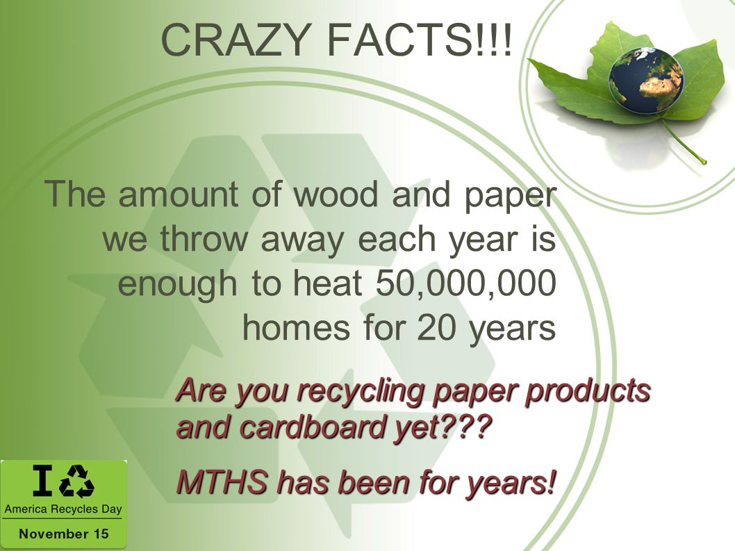CRAZY FACTS!!! The amount of wood and paper we throw away each year is enough to heat 50,000,000 homes for 20 years.