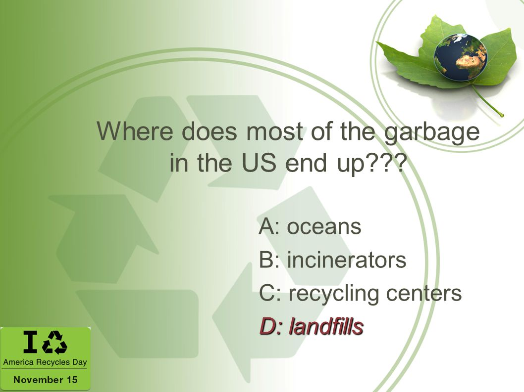 Where does most of the garbage in the US end up