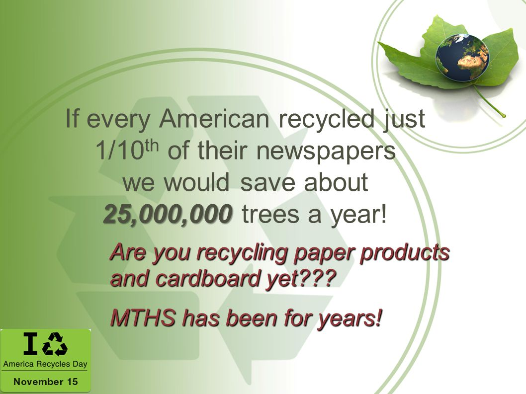 If every American recycled just 1/10th of their newspapers we would save about 25,000,000 trees a year!
