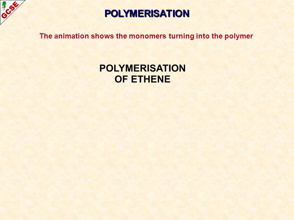 The animation shows the monomers turning into the polymer
