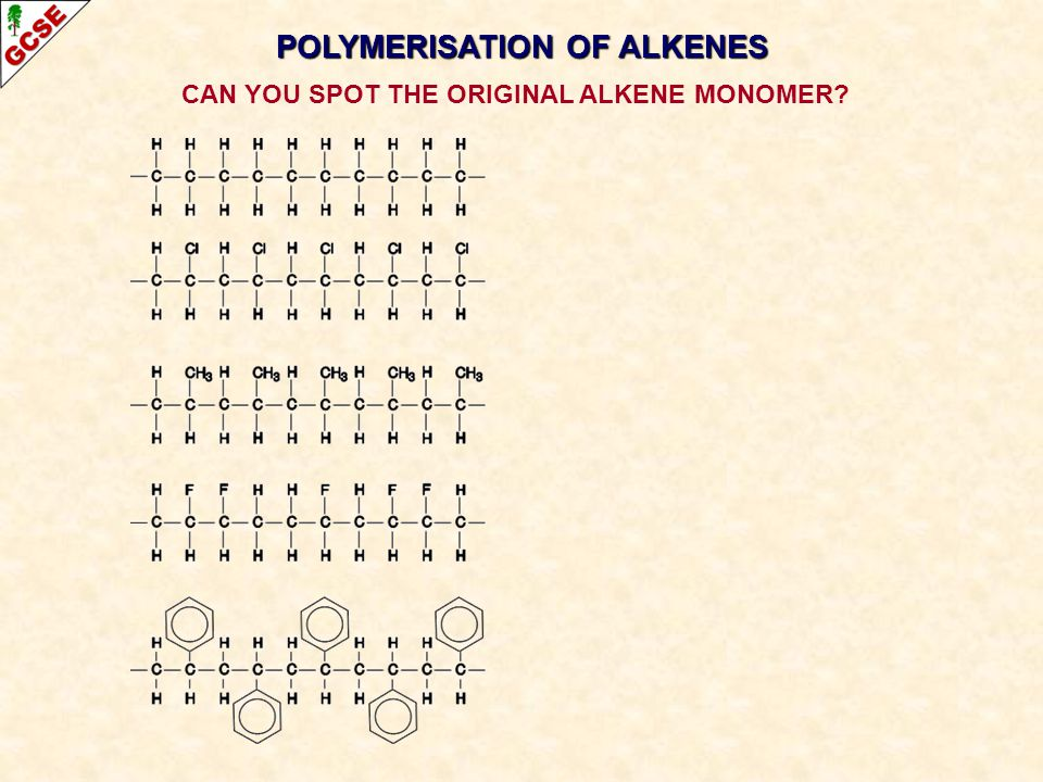 POLYMERISATION OF ALKENES CAN YOU SPOT THE ORIGINAL ALKENE MONOMER