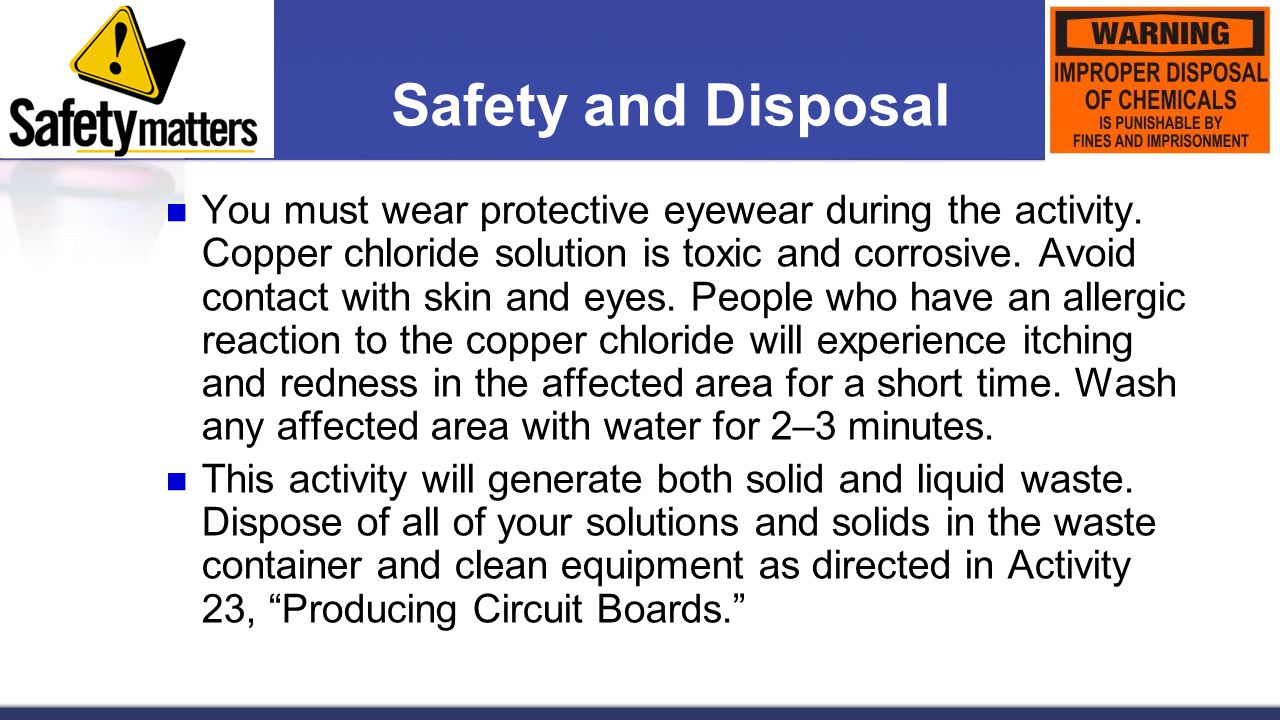 Safety and Disposal
